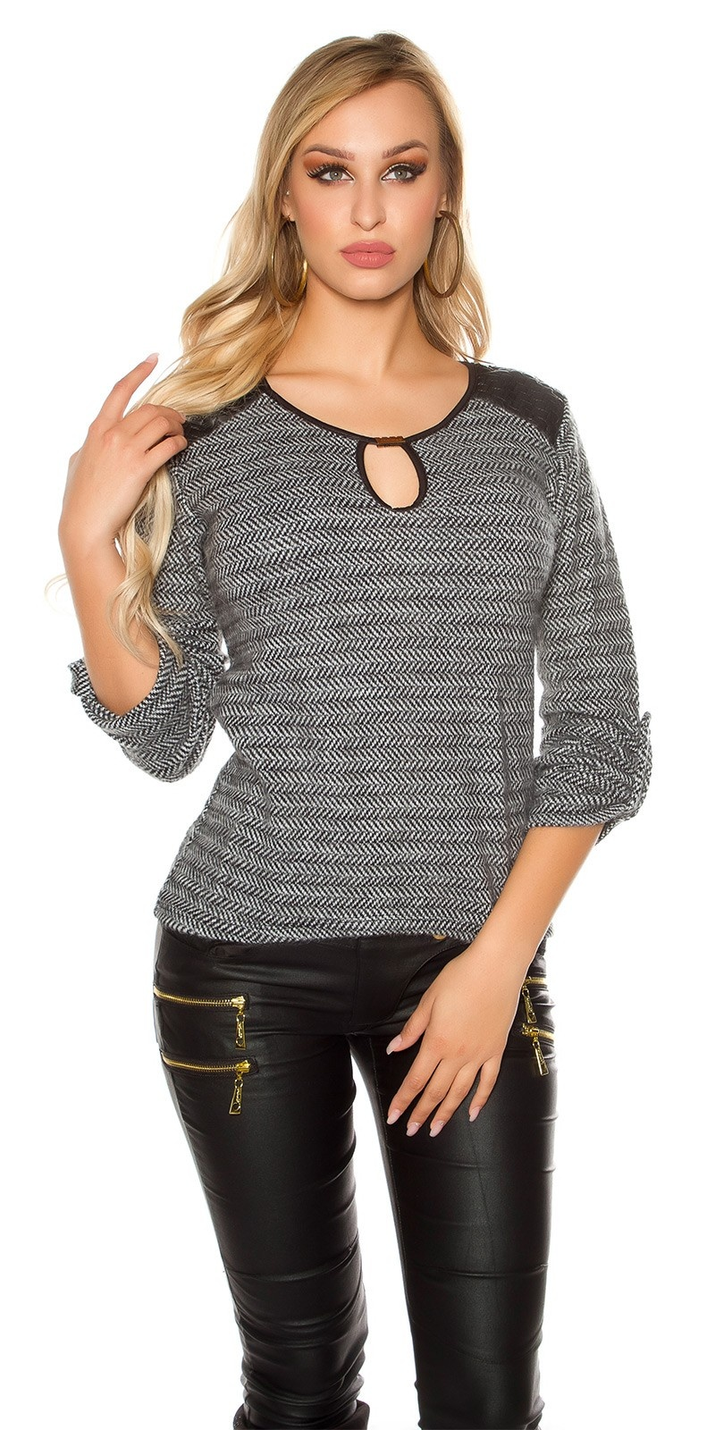 Trendy Koucla pullover with fake leather & insight Whiteblack