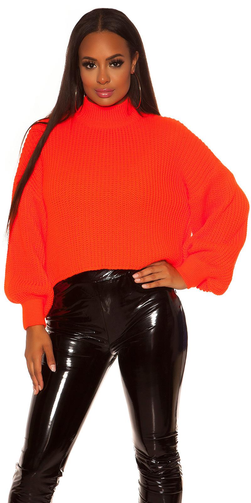 Sexy oversized grof gebreide sweater-trui neonoranje