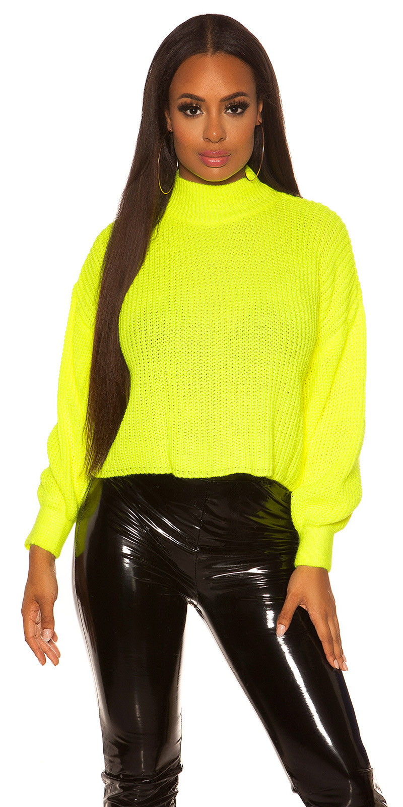 Sexy oversized grof gebreide sweater-trui neongeel