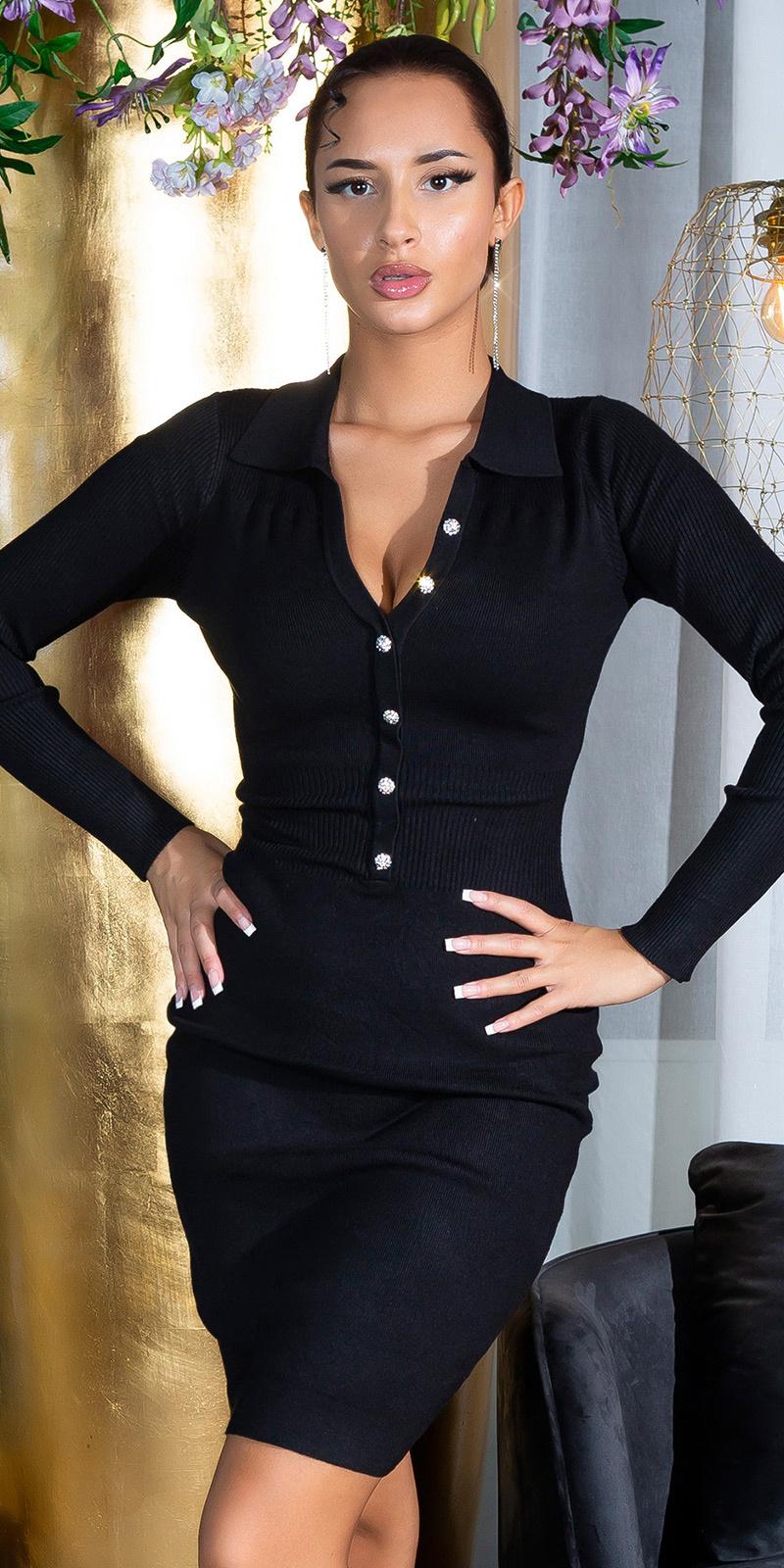Sexy aangesloten gebreide jurk met strass steentjes knopen zwart