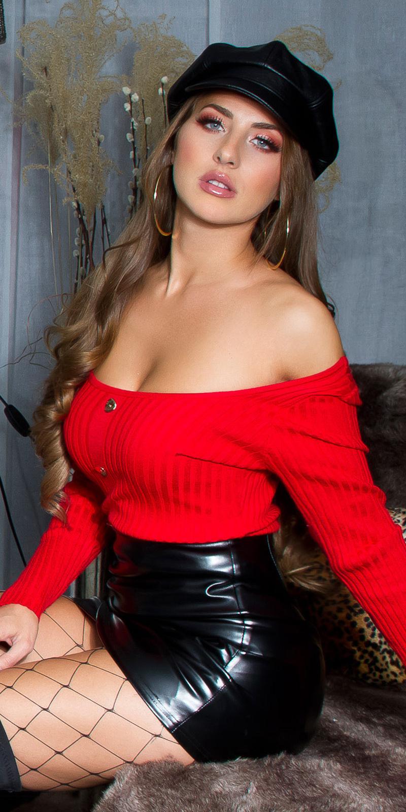 Sexy u-hals sweater-trui met decoratieve knopen rood