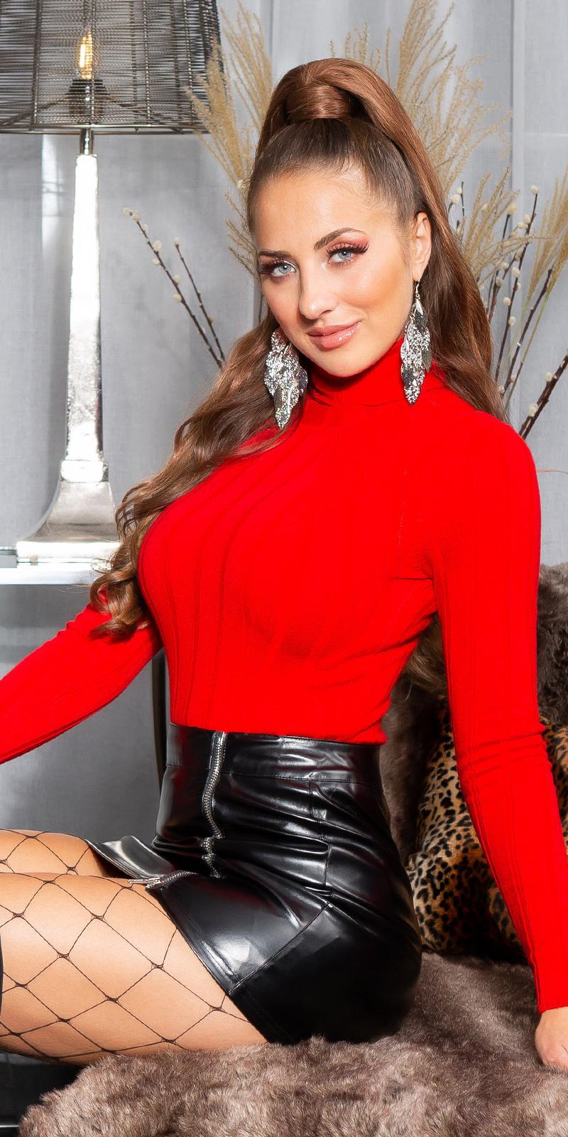 Sexy basic col sweater-trui rood