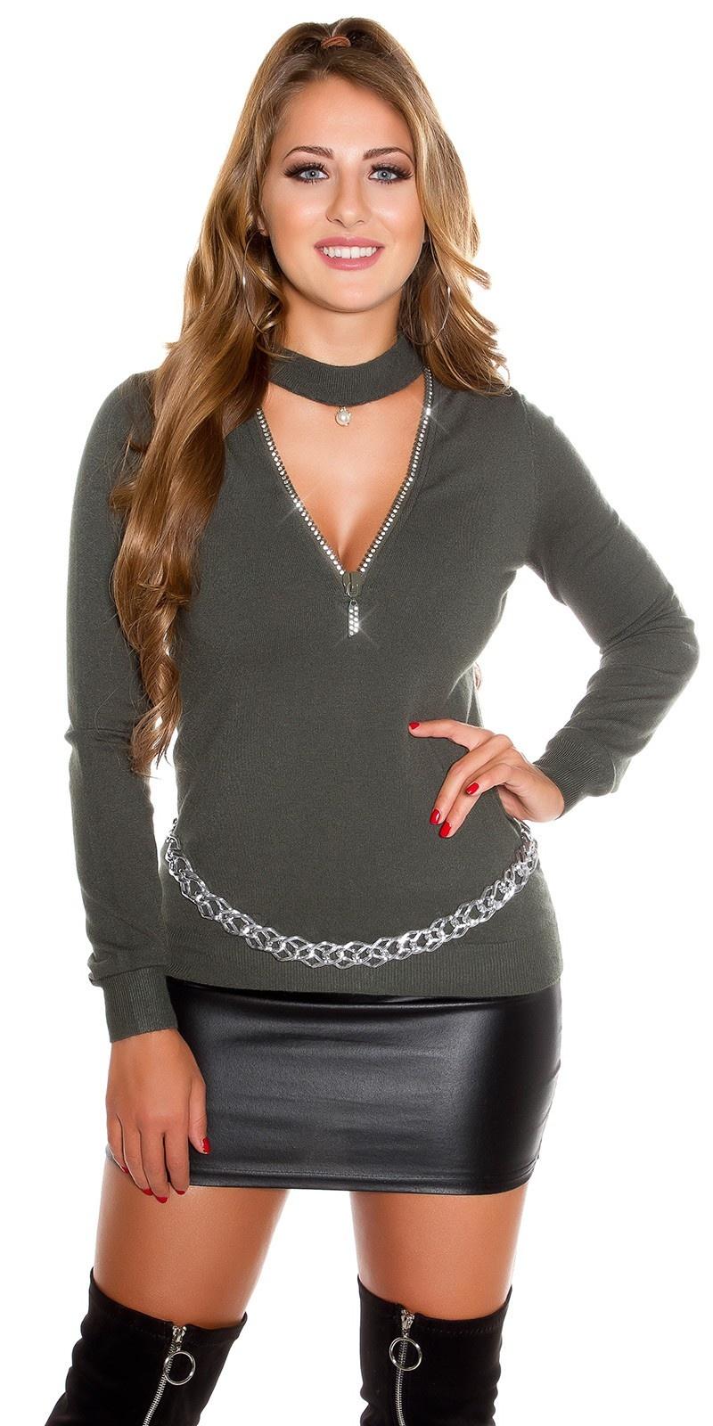Sexy v-hals sweater-trui met xl ritssluiting khaki