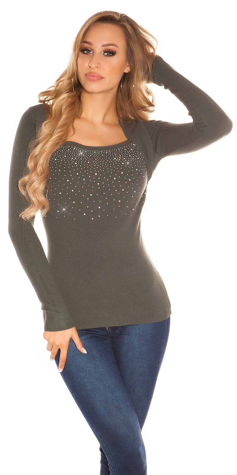 Sexy 2in1 sweater with rhinestones Khaki