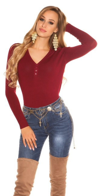 Sexy Basic fine knit V jumper Bordeaux