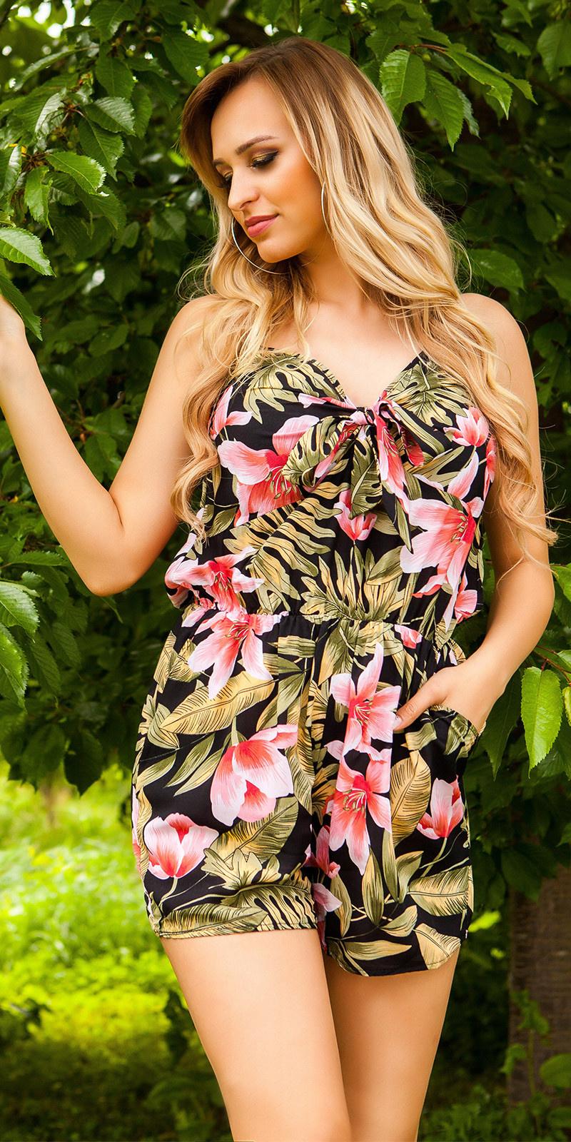 Sexy playsuit bloemen-print met riem zwart