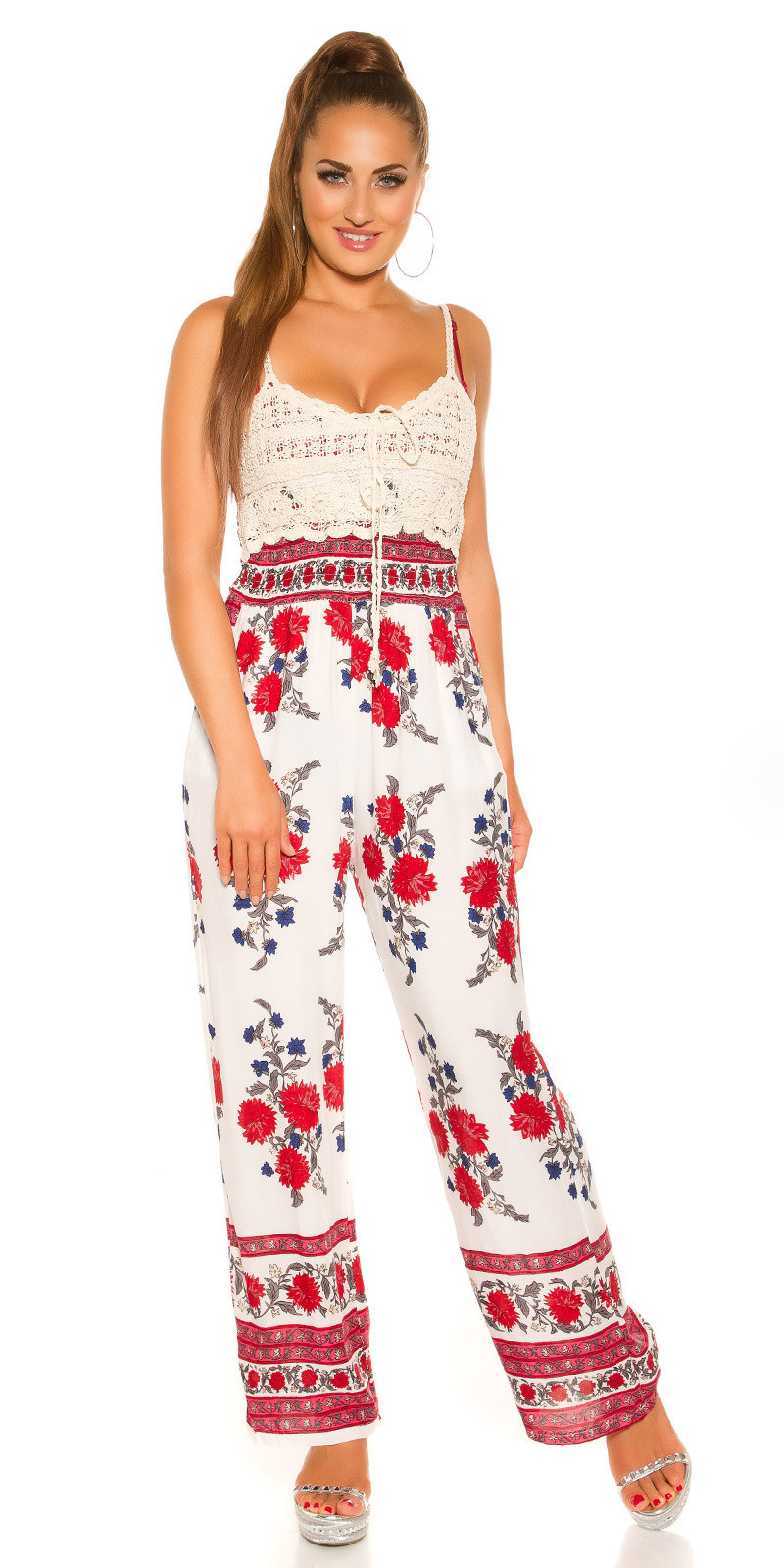 Sexy carrier summer jumpsuit with floral print White