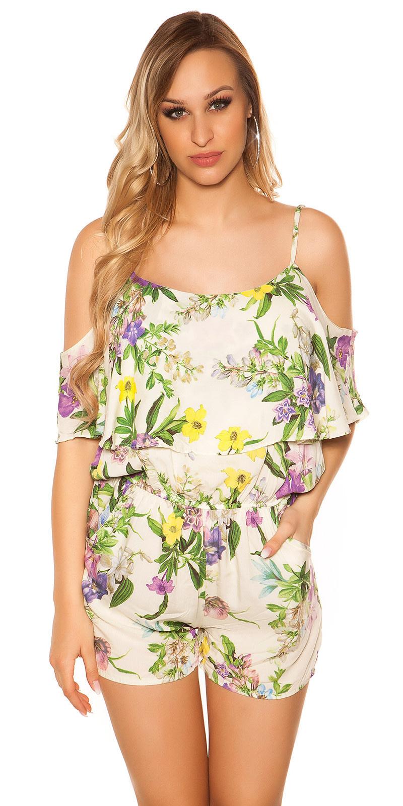 Sexy blote schouder playsuit met bloemen-print paars
