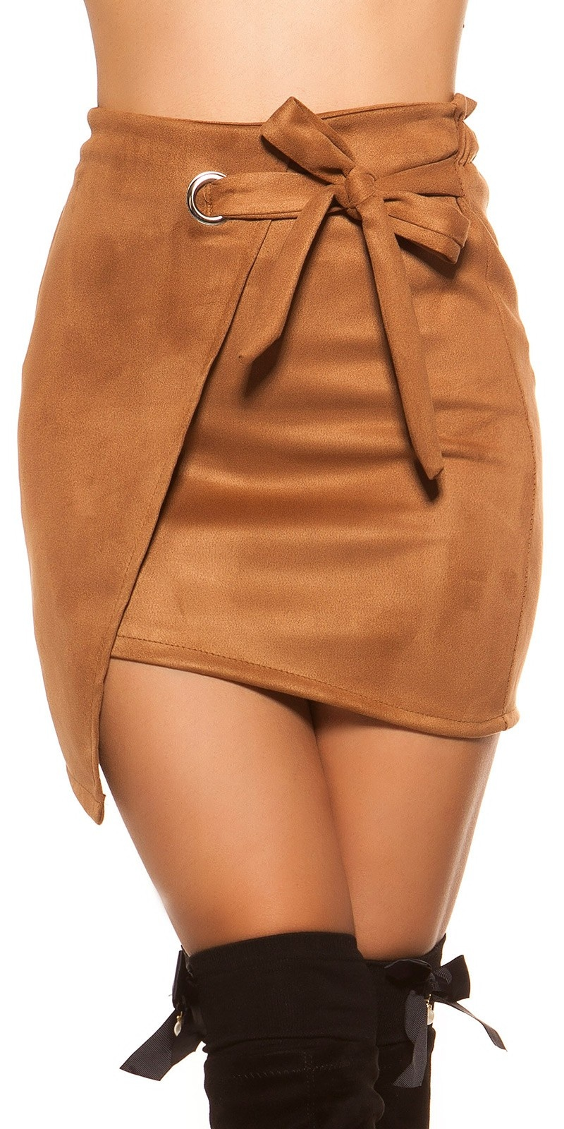 Sexy suede look mini skirt wrap look Brown