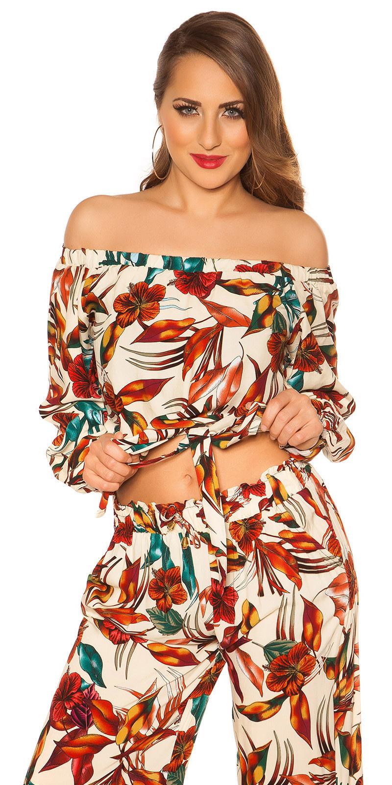 Sexy off shoulder shirt bloemen-print met lus beige
