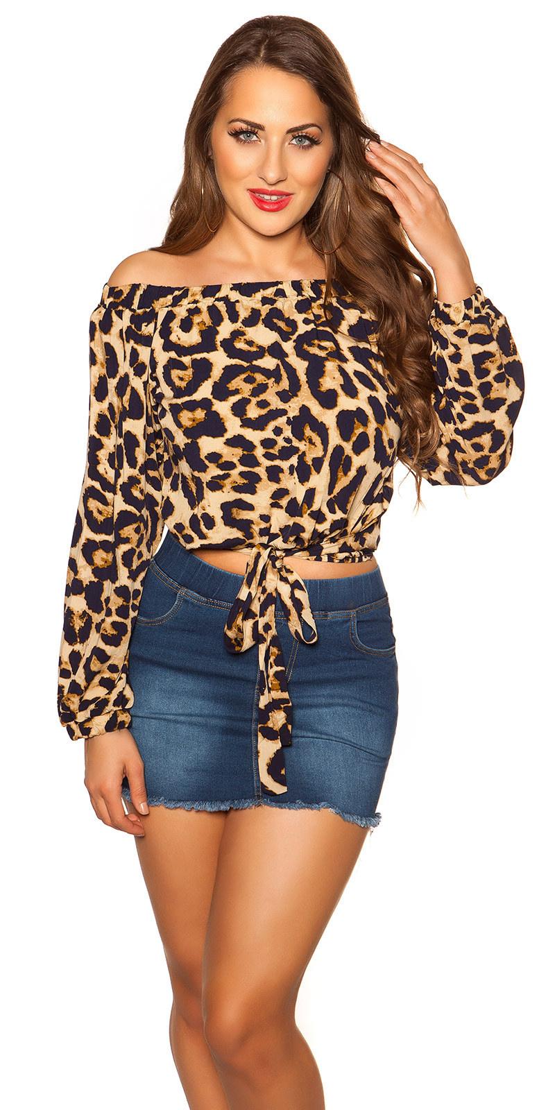 Sexy off shoulder crop shirt met lus marineblauw
