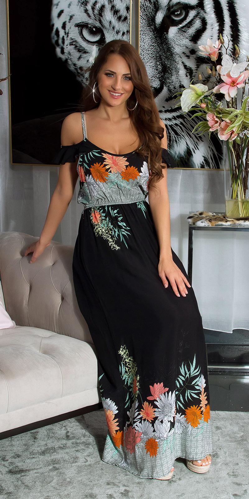 Sexy off-shoulder maxijurk met bloemen-print zwart