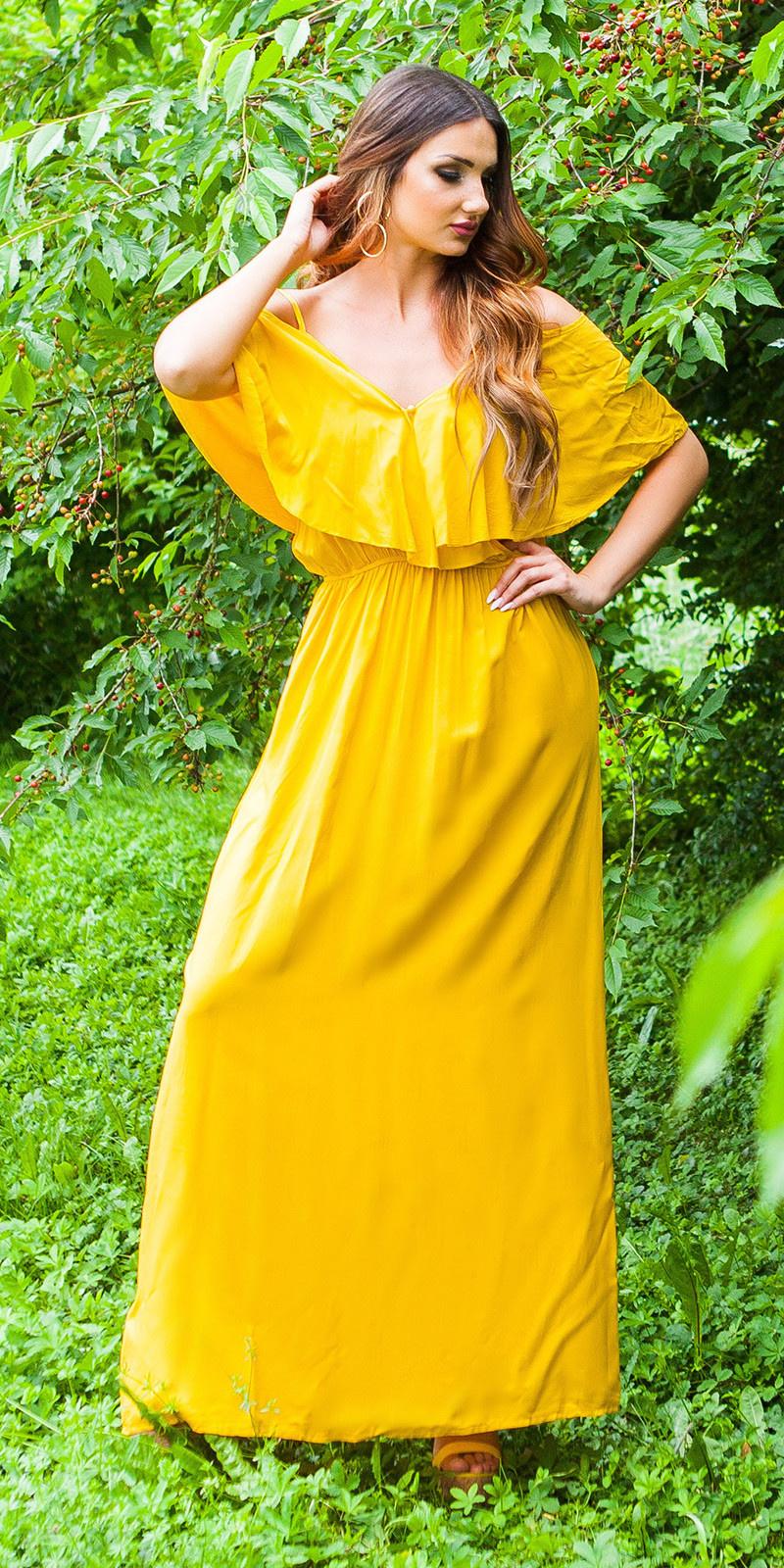 Sexy maxi zomerjurk wikkel look geel