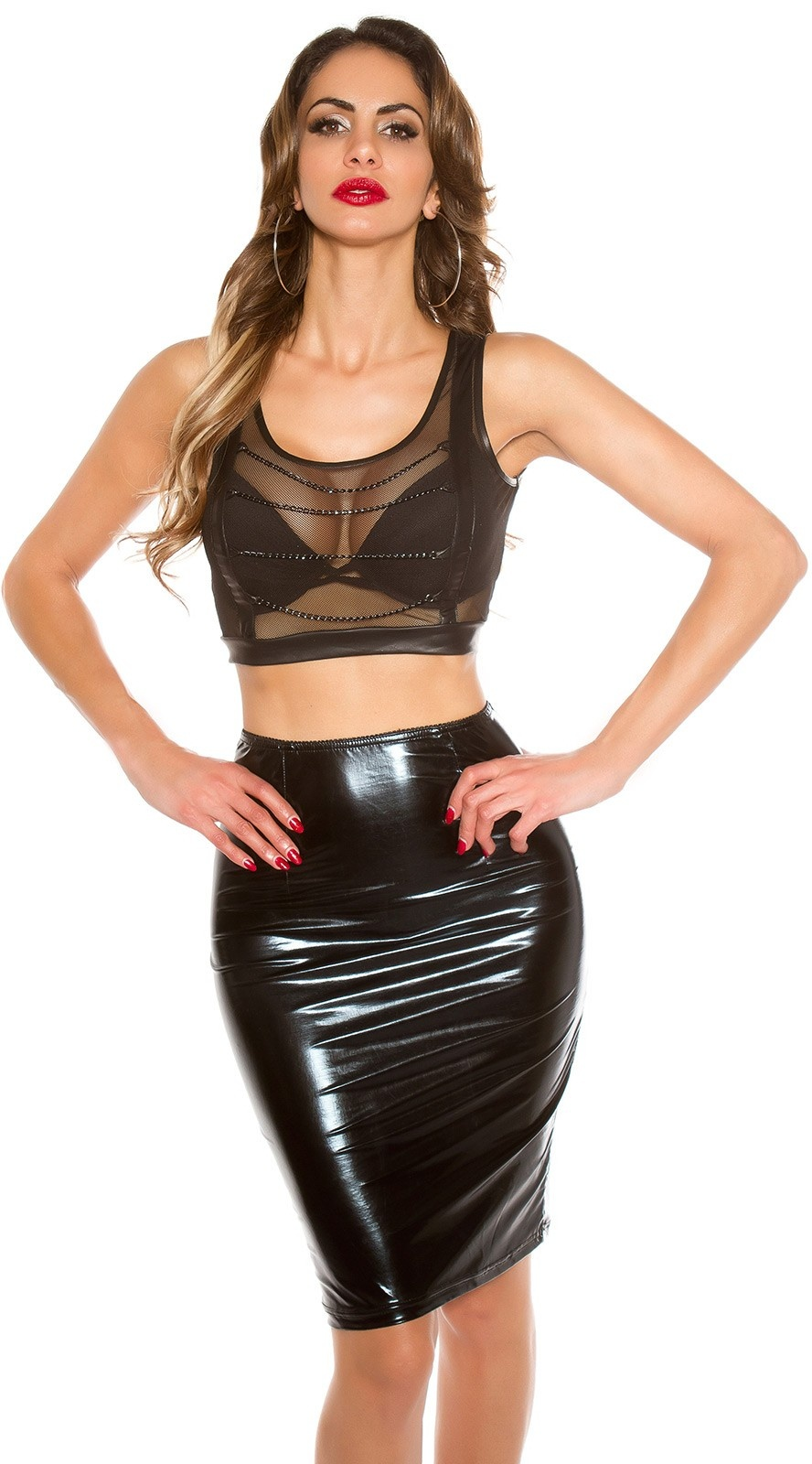 Sexy KouCla pencil skirt in latex look Black