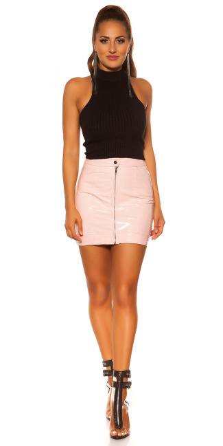 Sexy KouCla Latex Look Skirt with Zip Pink
