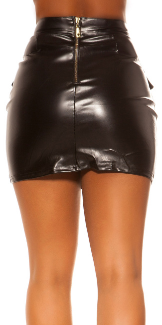 Sexy KouCla Lether Look Skirt with Zips Black