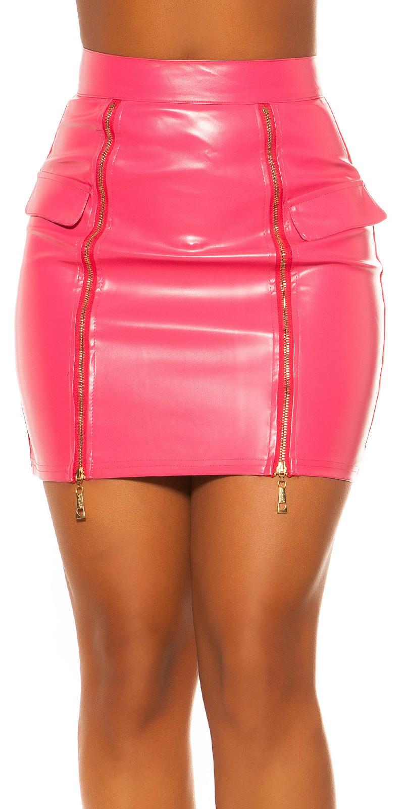 Sexy leder look rok met ritsen fuchsia-kleurig