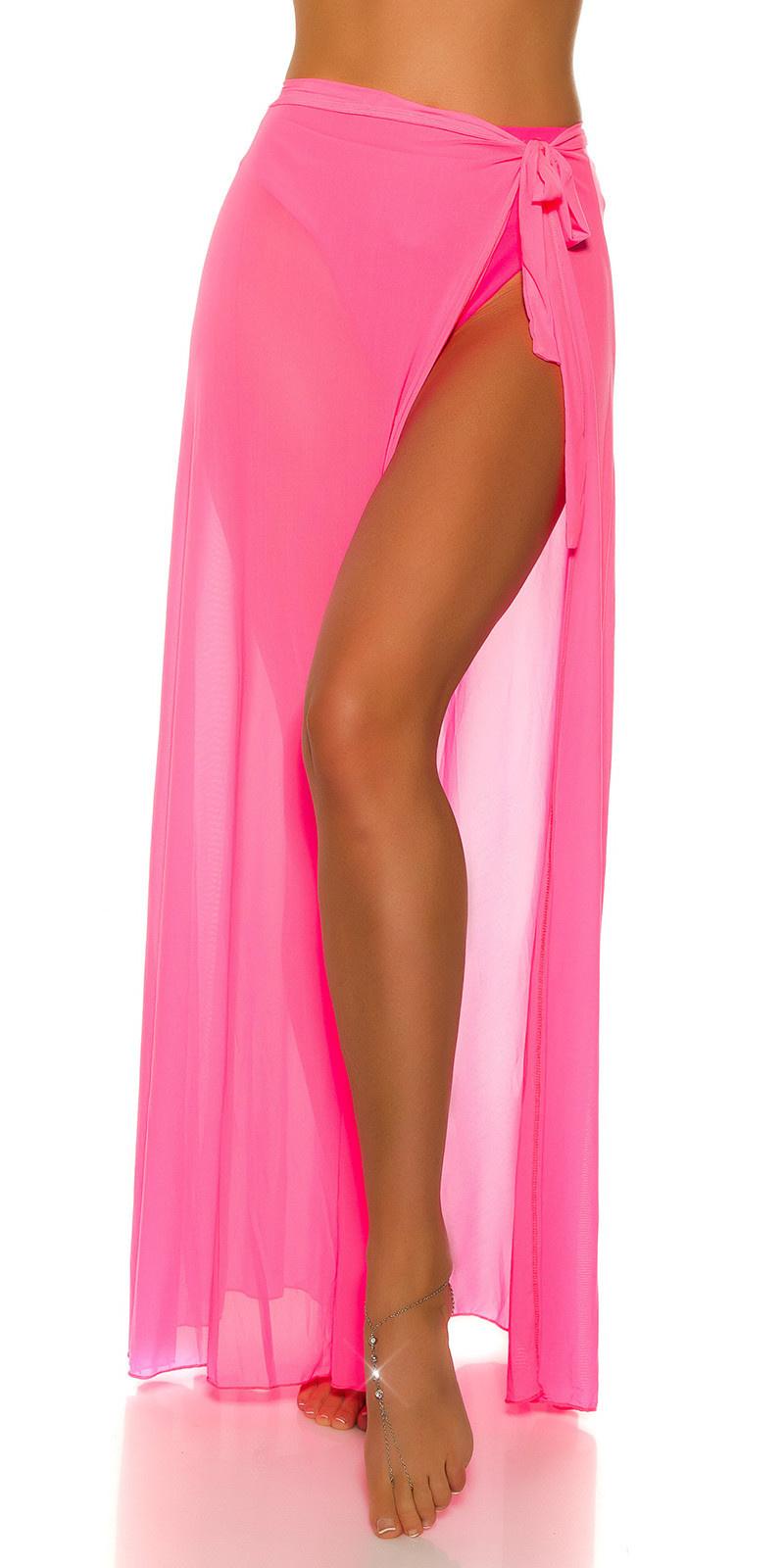 Sexy strand tule omwikkel rok neonfuchsia-kleurig