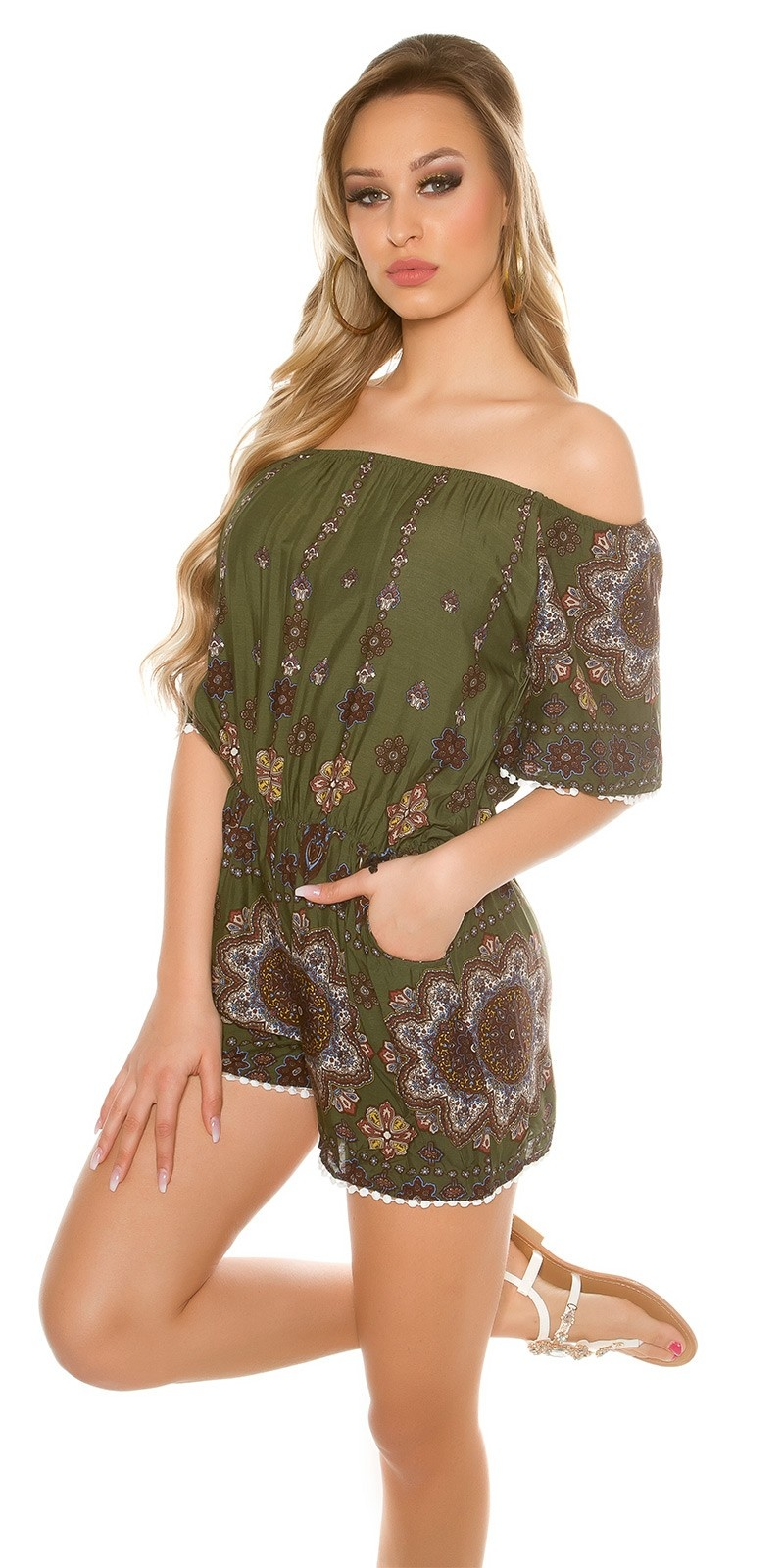 Sexy Off shoulder Playsuit patterned Khaki