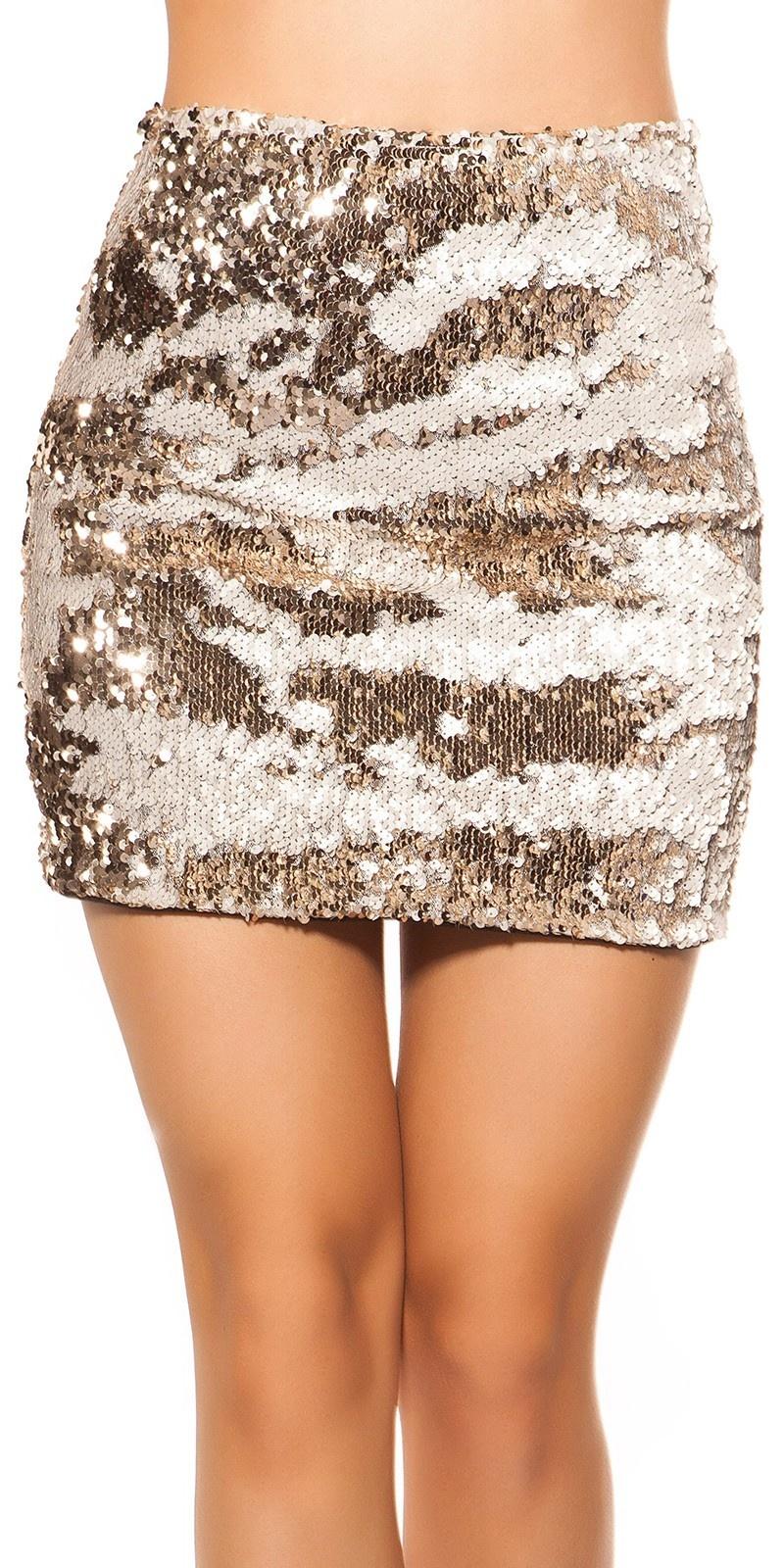 Sexy mini rokje met veranderende pailletten wit