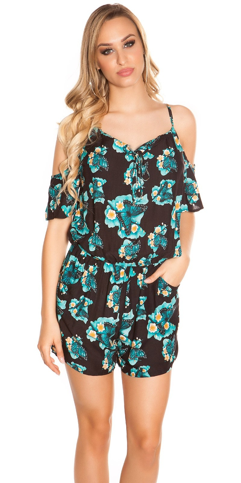 Sexy Coldshoulder Playsuit Butterfly Print Black