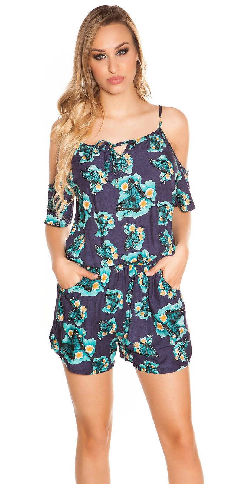 Sexy Coldshoulder Playsuit Butterfly Print Navy