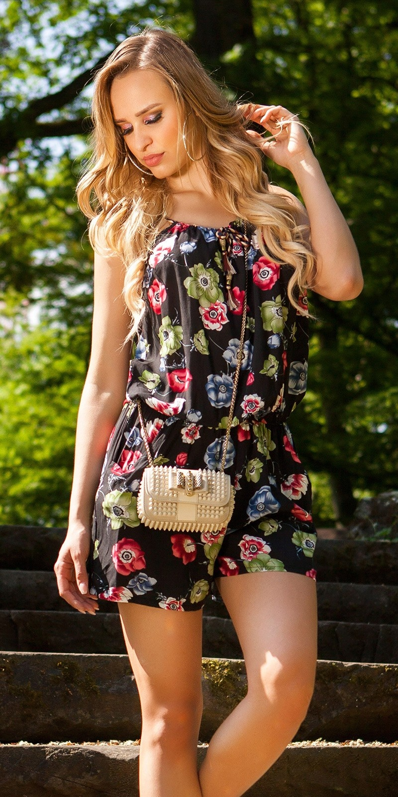 Sexy Playsuit Floral Print Black