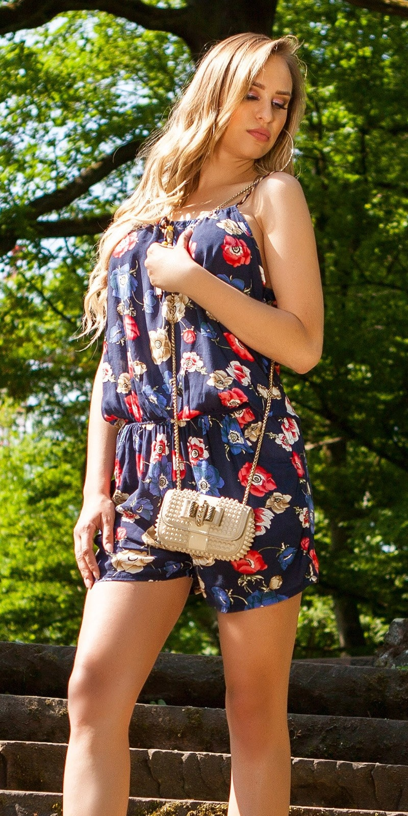 Sexy Playsuit Floral Print Navy