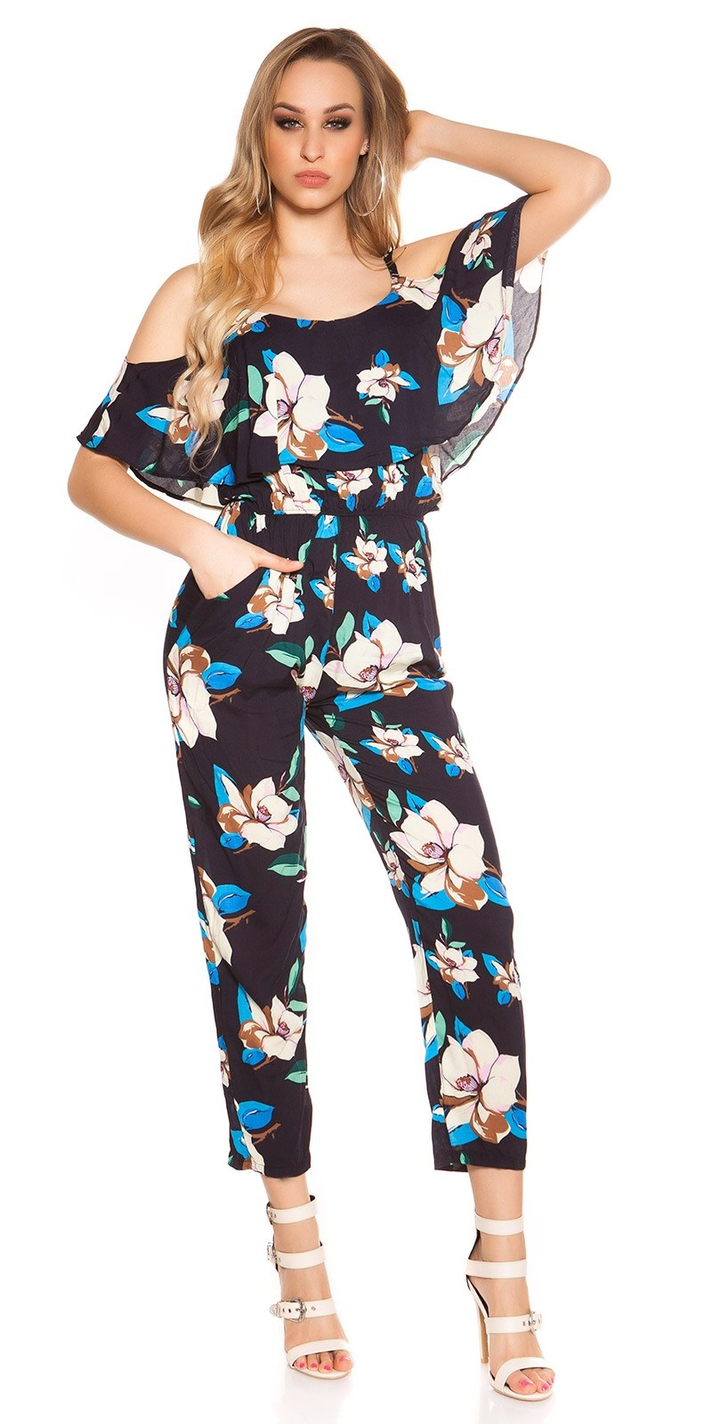 Sexy lange zomer jumpsuit coachella-style marineblauw