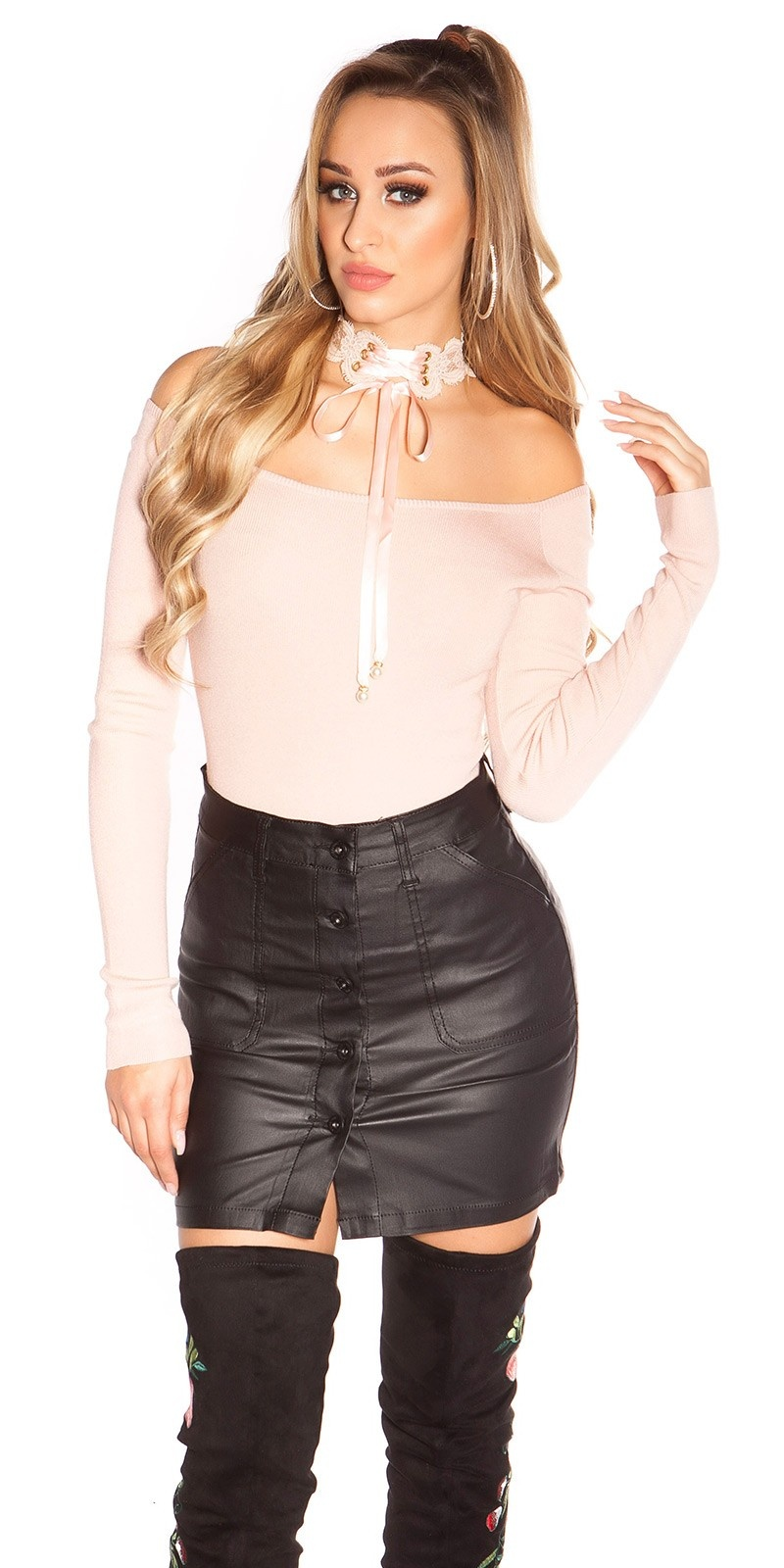 Sexy leather look skirt A-line with buttons Black