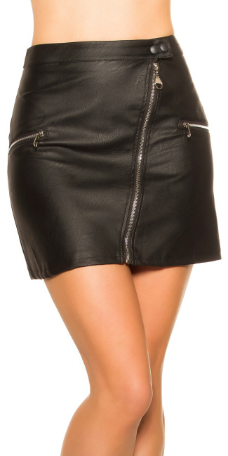 Sexy leather look mini skirt with zips Black