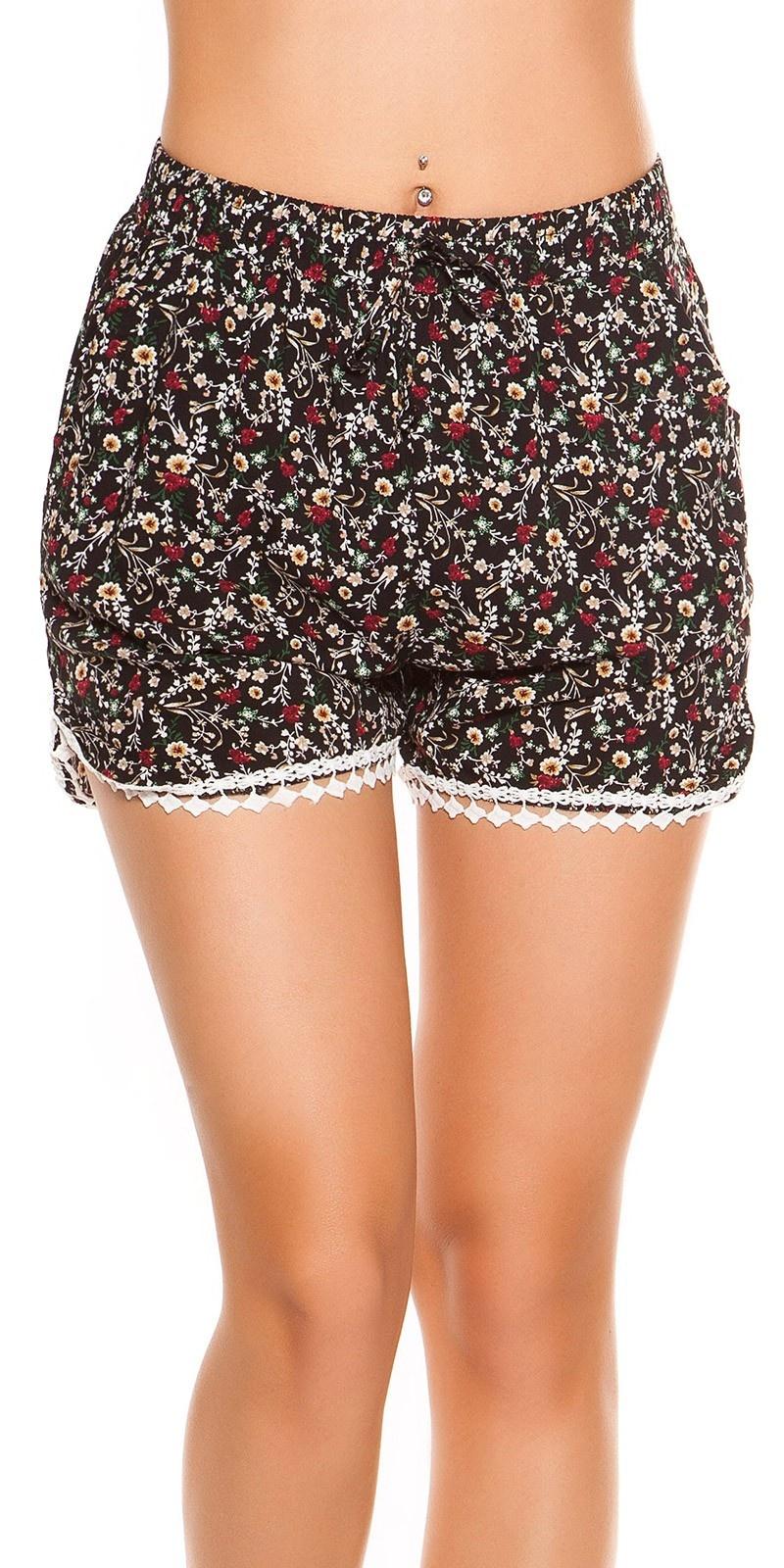 Sexy shorts in bloemen-print zwart