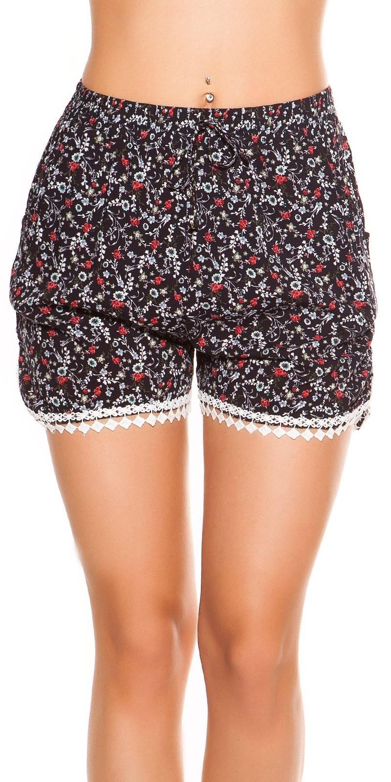 Sexy shorts in bloemen-print marineblauw