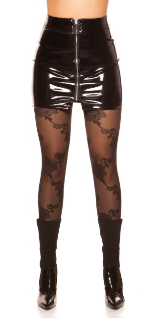 Sexy latex look mini skirt with zip Black