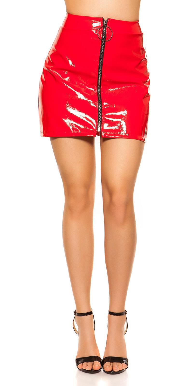 Sexy wetlook mini rokje met xxl ritssluiting rood