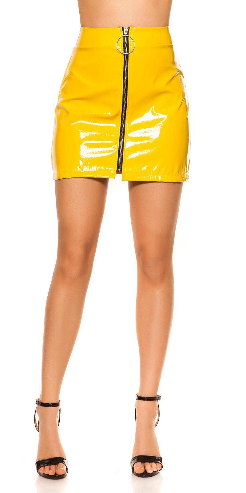 Sexy wetlook mini rokje met xxl rits geel