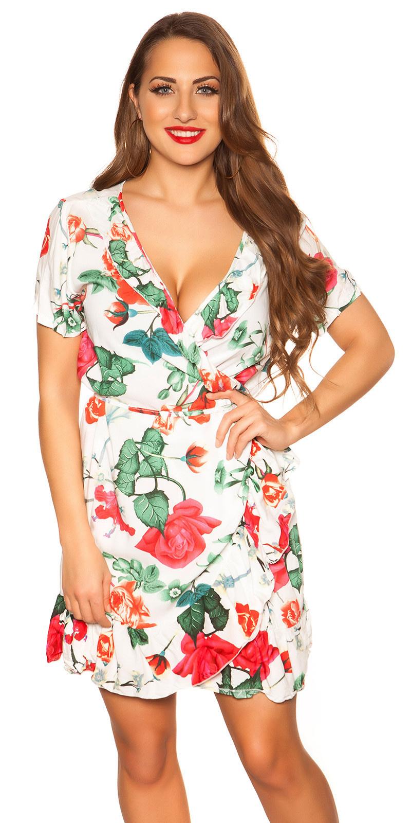 Sexy wikkel jurk in bloemen-print wit