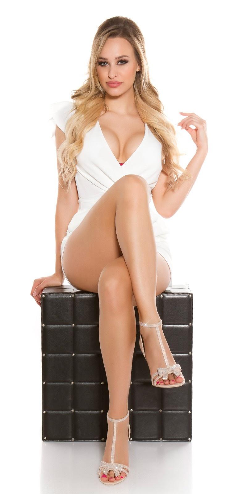 Sexy high heel sandal with rhinestone & bow Beige