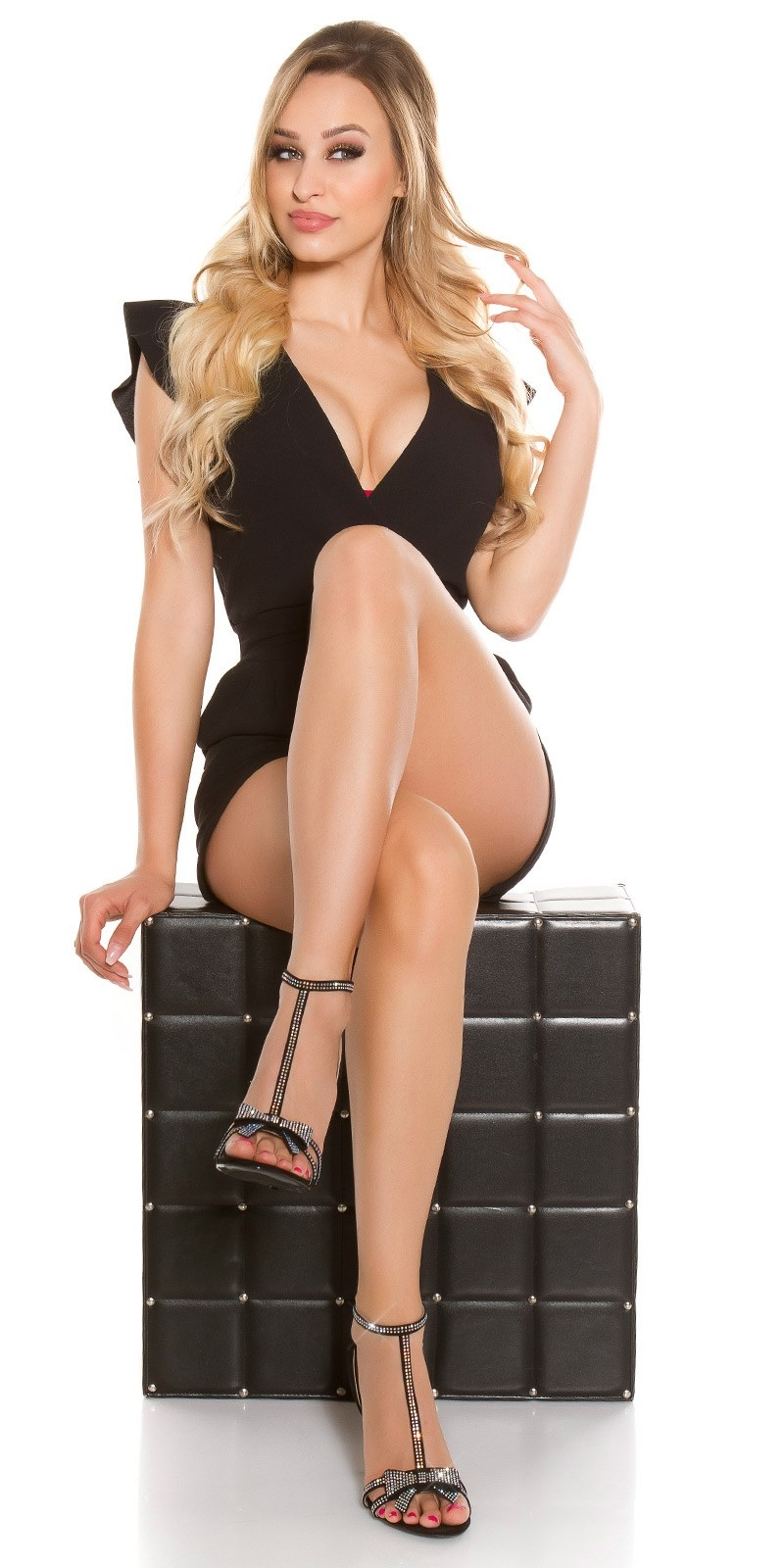 Sexy high heel sandal with rhinestone & bow Black