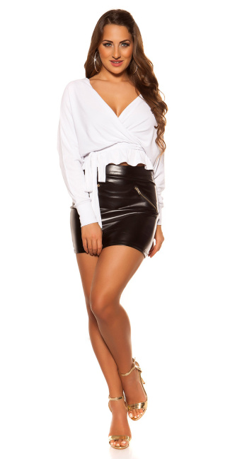 Sexy V-Cut crop rib long sleeve shirt with belt White