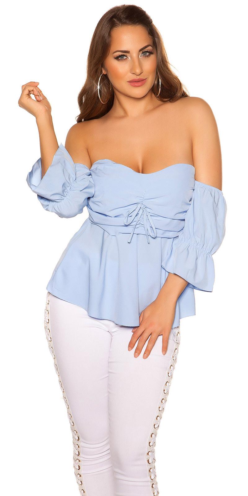 Sexy off shoulder top met volant babyblauw