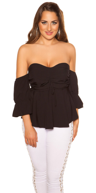 Sexy off shoulder top with flounce Black