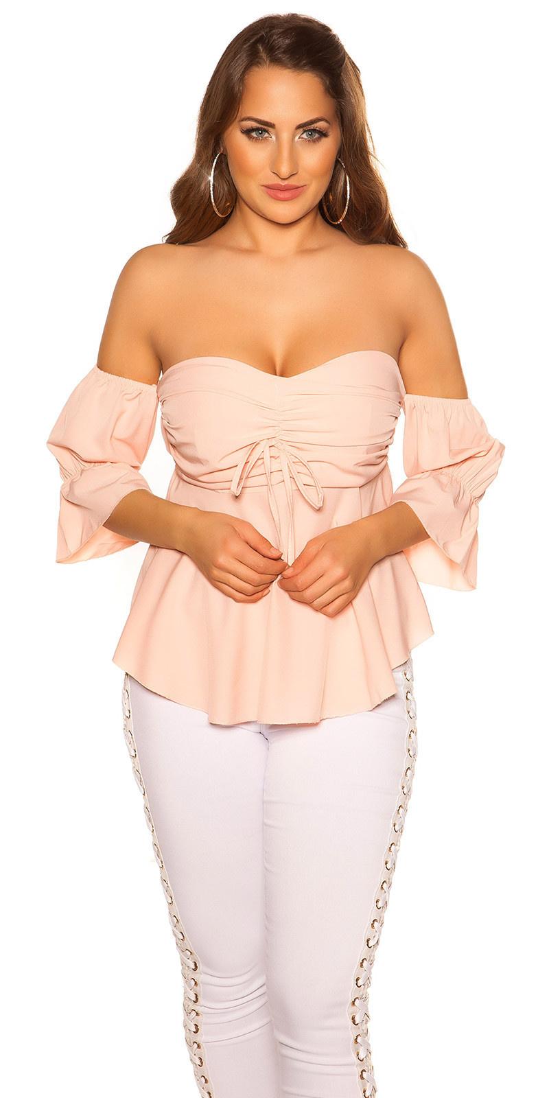 Sexy off shoulder top met volant roze