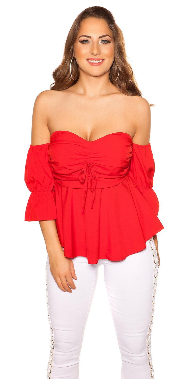 Sexy off shoulder top met volant rood