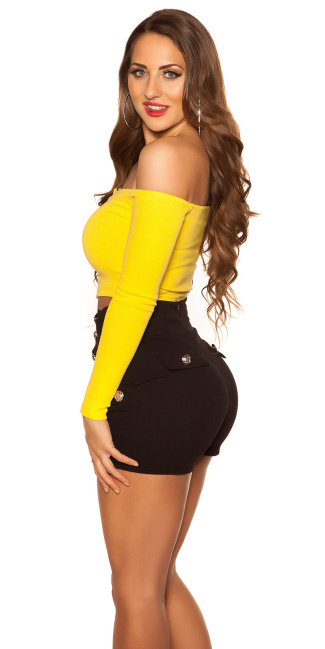 Sexy crop long sleeve shirt with zip Yellow