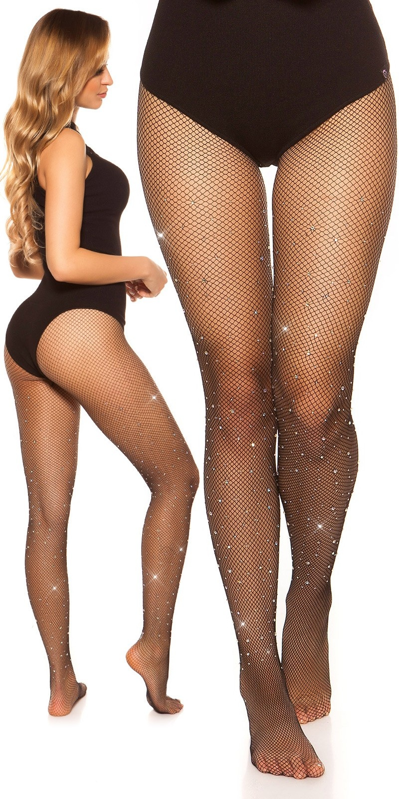 Sexy fishnet tights with rhinestones Black