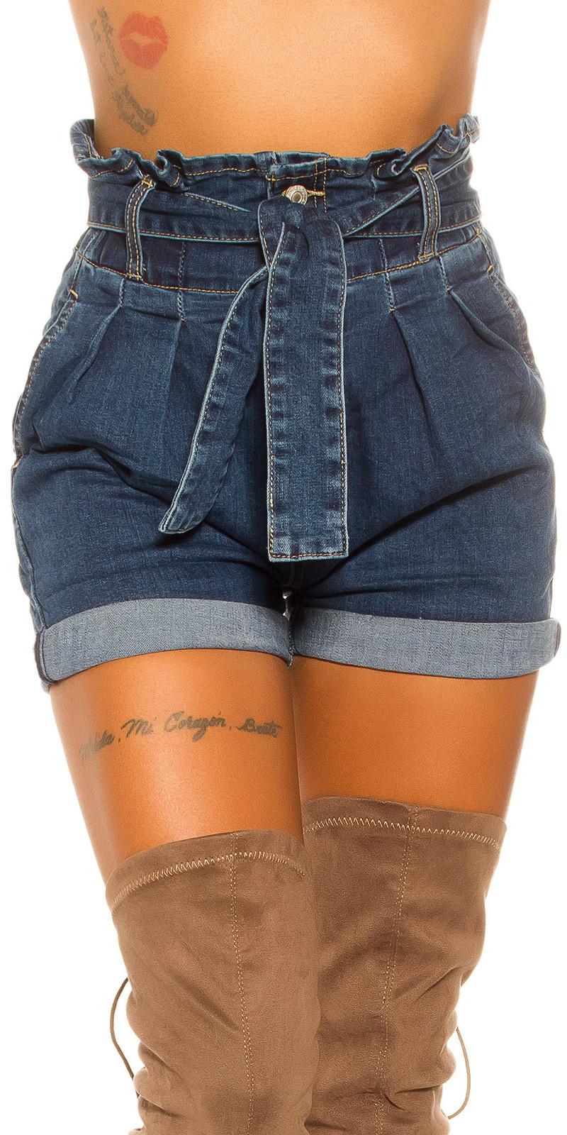 Sexy hoge taille jeansshorts met riem en zakken jeansblauw