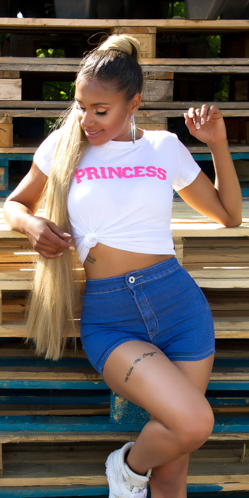 Sexy hoge taille basic jeans-shorts blauw
