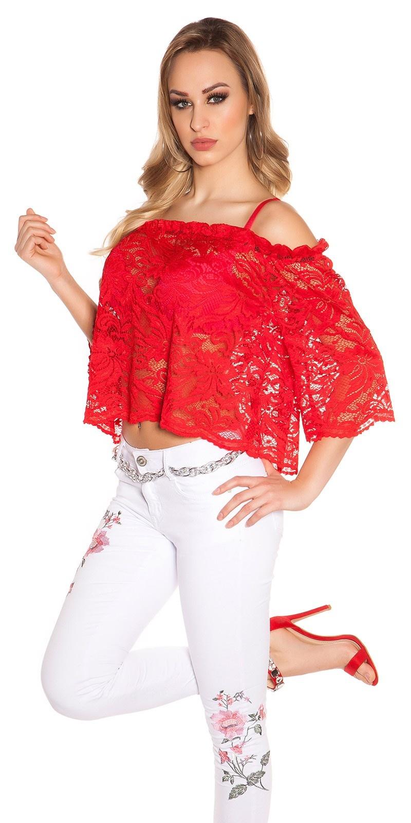 Sexy carmen kanten shirt rood