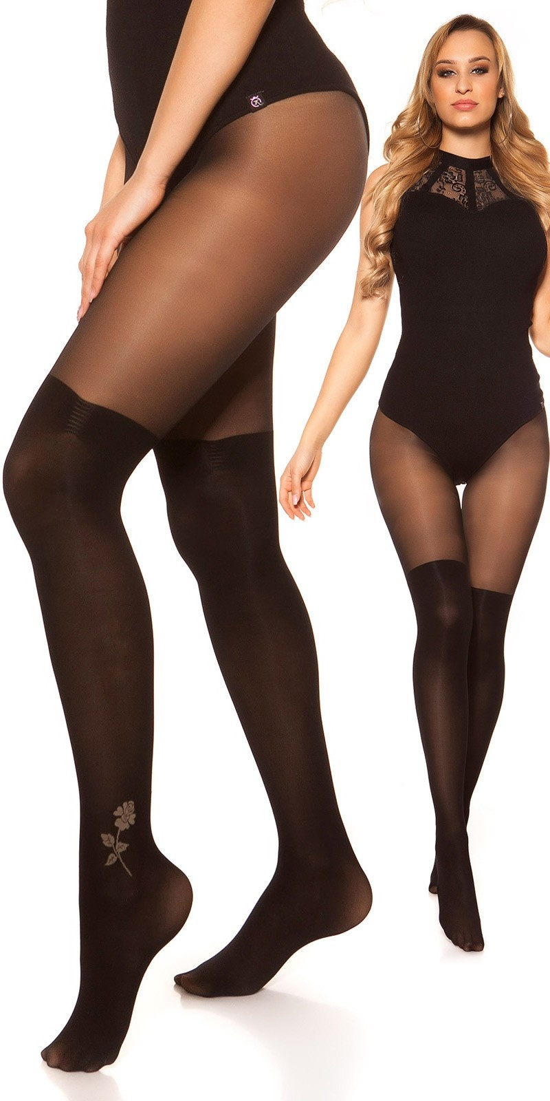 Sexy tights in overknee look Black